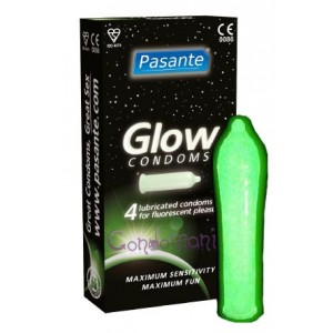Pasante Glow In The Dark (4vnt. dėžutė) prezervatyvai